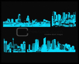 blue city set. Vector