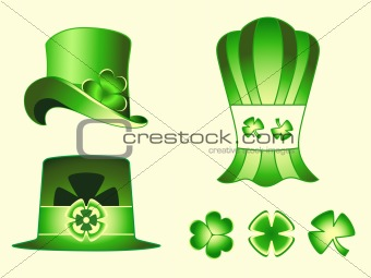 Leprechaun hats and clovers