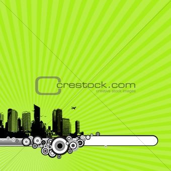 Illustration with city and green background. vector