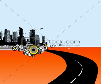 Illustration with city and road. Vector