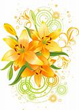 Three orange lily, vector grunge floral background