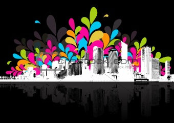 Abstract illustration with city.