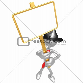Businessman With Picket Sign