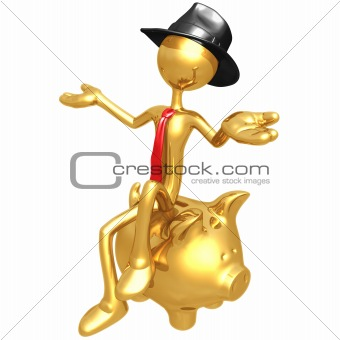 Businessman Sitting On Piggy Bank