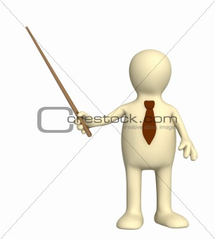 3d puppet - businessman in a tie with pick