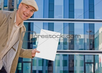 business man showing folder