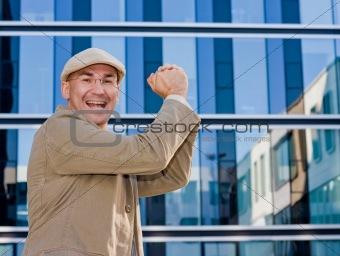 business man in winning pose