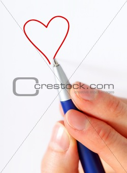 hand drawing  a heart
