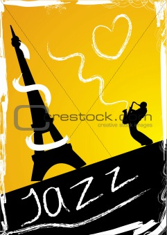 Abstract design with saxophonist