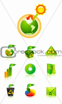 Green recycle vector icon illustration global warming