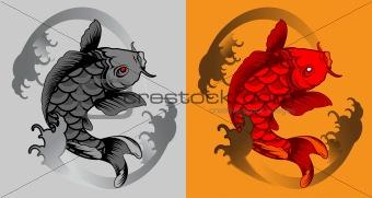 fish koi tattoo vector illustration