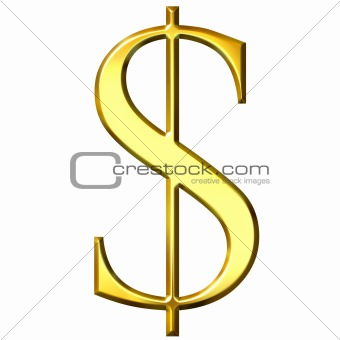 3D Golden Dollar Symbol