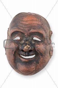 Old wooden mask isolated on white.