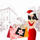 Christmas shopping, fashion woman for your design