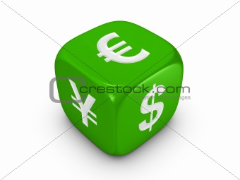 green dice with curreny sign