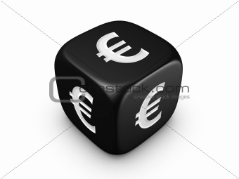 black dice with euro sign