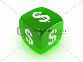 translucent green dice with dollar sign