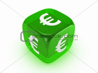 translucent green dice with euro sign