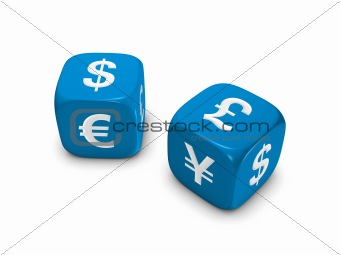 pair of blue dice with currency sign