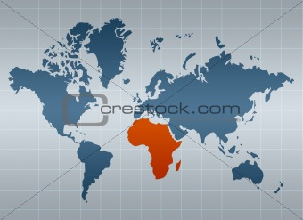 Africa on map of the world