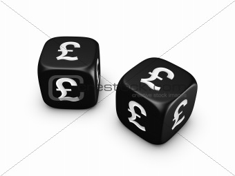 pair of black dice with pound sign