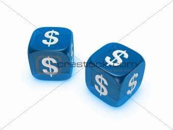 pair of translucent blue dice with dollar sign