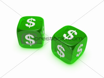 pair of translucent green dice with dollar sign