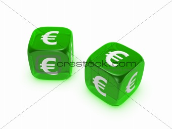 pair of translucent green dice with euro sign