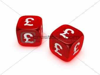 pair of translucent red dice with pound sign