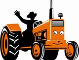 Farmer drivng a tractor