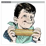 Vintage 1950s Boy Eating Corn