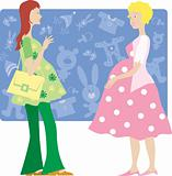 Two pregnant ladies shopping