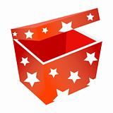 Red gift box with stars