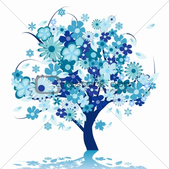 Abstract tree with flowers
