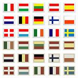 flag stamps set , easily editable vector illustration