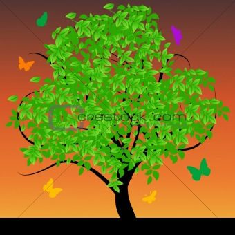 Abstract tree with green leafs