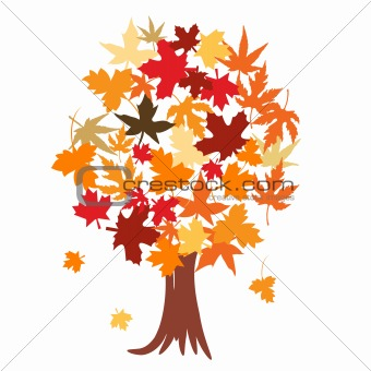 Abstract tree with autumn leaves