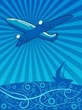 Air plane flying over the sea vector illustration