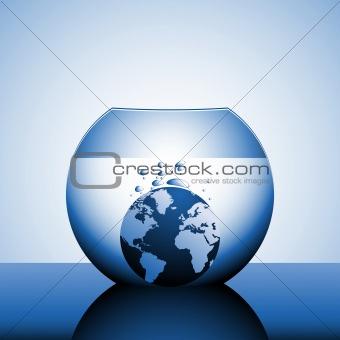 A globe sinking in water