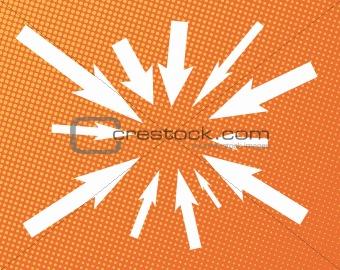 Arrows on halftone background