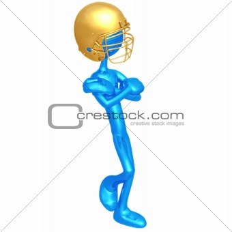 Football Player Leaning