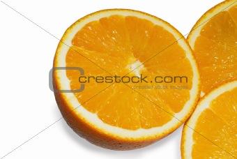 Juicy orange on a white background.