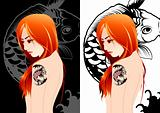 Girl tattoo vectors illustration