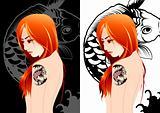 Girl tattoo vectors illustration