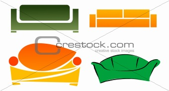 Four different abstract stylized sofa