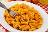 Italian pasta with tomato sauce.