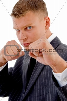 businessman boxing gesture