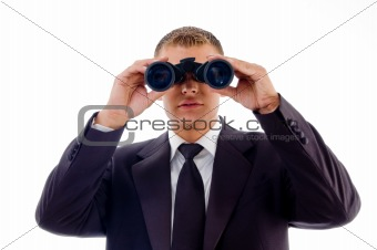 smart young lawyer viewing through binoculars