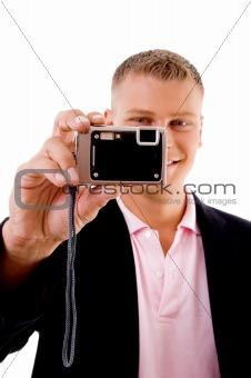 smile - professional holding digital camera