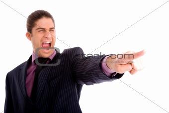 portrait of businessman pointing